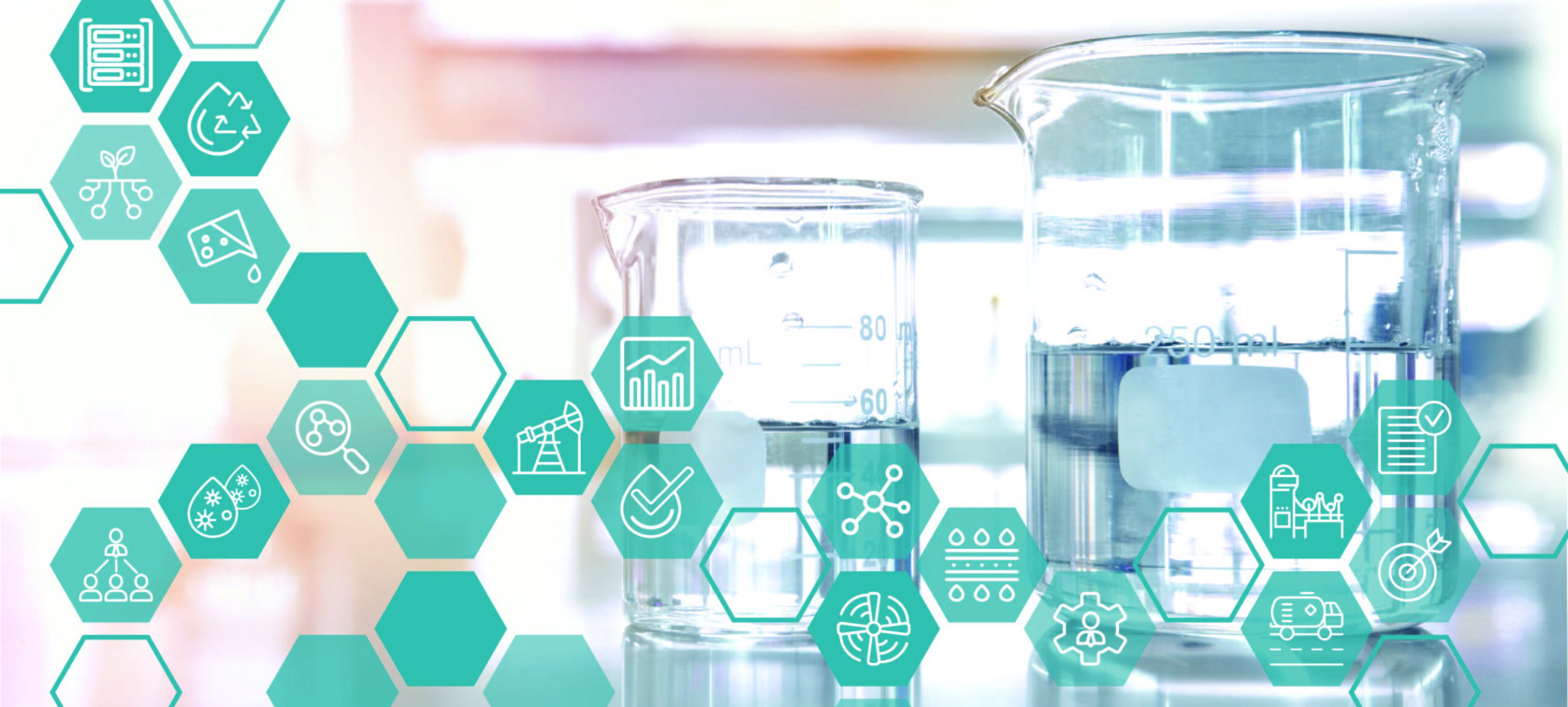 Icons showing oil and gas, pulp and paper, cooling water, technology and chemistry are overlaid on an image of beakers in a lab.