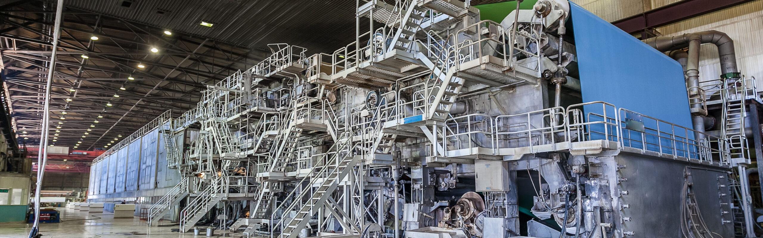 A paper machine in a processing facility