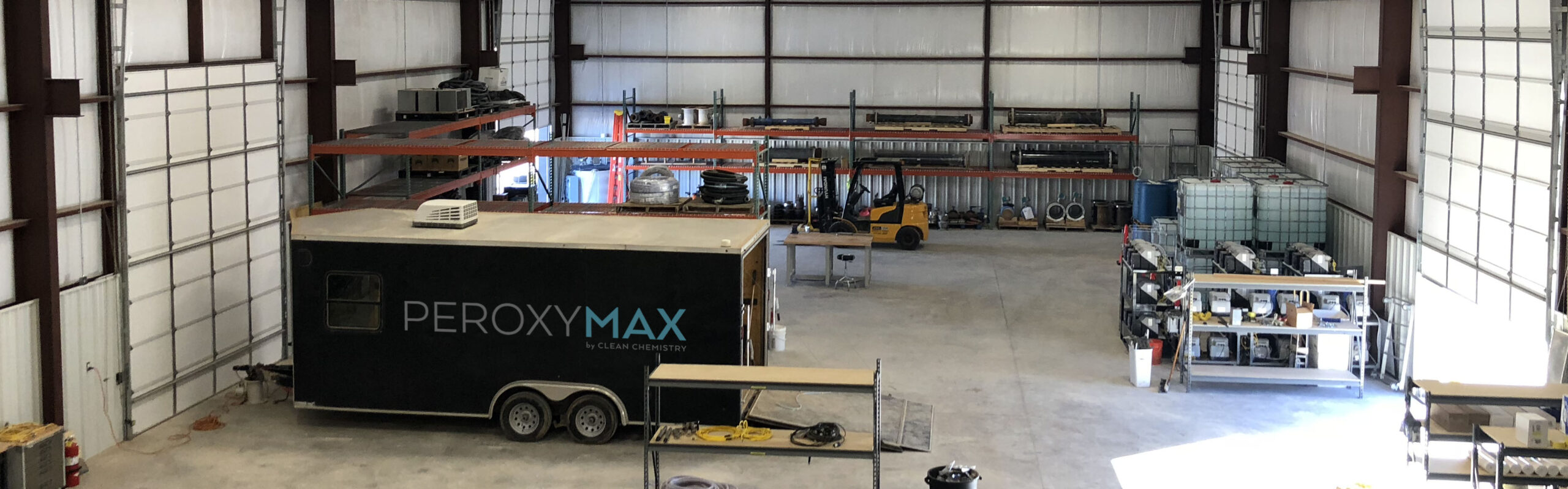 Clean Chemistry's shop in Midland, TX houses a trailer and manufacturing space